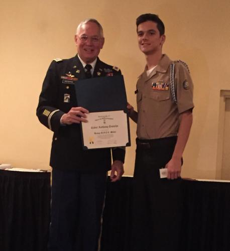 Cadet Anthony Trancho, Mitchell H.S. receives the SAR JROTC Medal